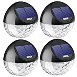 AMIR Solar Fence Lights Outdoor, 4 Pack 22LM Deck Lights, Auto On/Off Dusk to Dawn Post Lights, Waterproof Solar Garden Decorative Step Light, for Wall, Pathway, Driveway, Patio, Yard, Garden (Black)