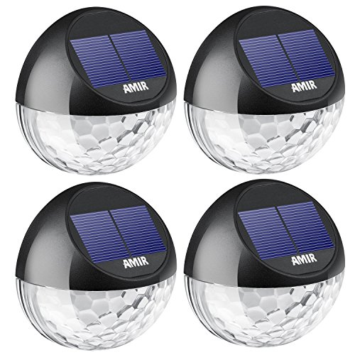 AMIR Solar Fence Lights Outdoor, 4 Pack 22LM Deck Lights, Auto On/Off Dusk to Dawn Post Lights, Waterproof Solar Garden Decorative Step Light, for Wall, Pathway, Driveway, Patio, Yard, Garden (Black) by AMIR