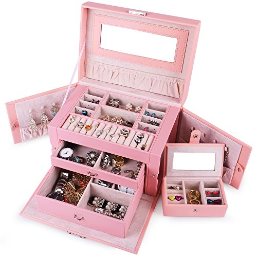 - Kendal Large Leather Jewelry Box/Case/Storage/Organizer with Travel Case and Lock (Pink)