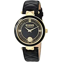Versus by Versace Women's 'Covent Garden Crystal' Quartz Stainless Steel and Leather Casual Watch, Color:Black (Model: VSPCD2217)