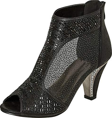 Cambridge Select Women's Peep Toe Crystal Rhinestone Sheer Mid Heel Dress Ankle Bootie (10 B(M) US, Black)