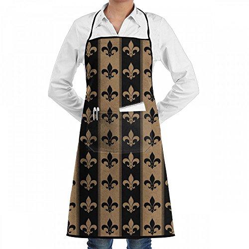 Raglan Carnegie Fleur De Lis Retro Strip Chef Kitchen Cooking Aprons BBQ Bib Apron with Pockets for Women Men