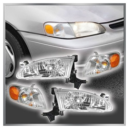 (Headlights Headlamps & Corner Parking Lights Kit Set for 98-00 Toyota Corolla)