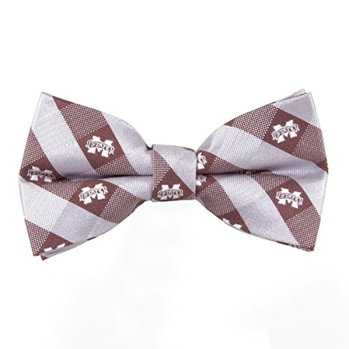 Mississippi State Bulldogs Checked Logo Bow Tie - NCAA College Team Logo