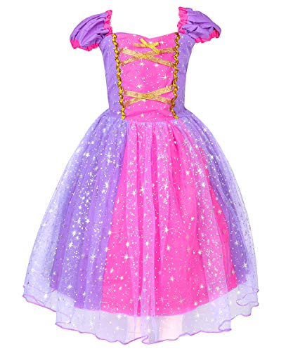 LENSEN Tech Princess Rapunzel Costume Baby Girls Dress(Shining Purple, 5-6 Years)]()