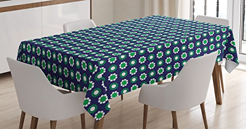 Ambesonne Navy Blue Decor Tablecloth, Cute Floral and Point Design with Green Round Abstract Pattern, Dining Room Kitchen Rectangular Table Cover, 60 W X 84 L Inches, White Green