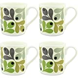 4 x Orla Kiely Multi Acorn Mugs - Green by Orla Kiely