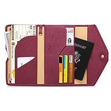Zoppen Mulit-purpose Rfid Blocking Travel Passport Wallet (Ver.4) Tri-fold Document Organizer Holder, #8 Wine Red / Burgundy