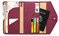 Zoppen Mulit-purpose Rfid Blocking Travel Passport Wallet (Ver.4) Tri-fold Document Organizer Holder, #8 Wine Red / Burgundy