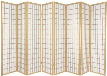 Legacy Decor 8-Panel Japanese Design Room Screen Divider Natural Color - Divider Design Screen