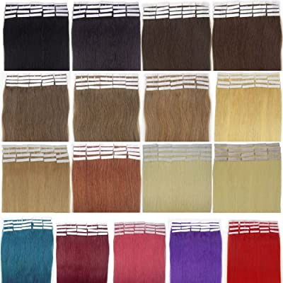 16''18''20''22'' 24'' Tape - In Real Human Hair Extensions Straight 17 Colors 20pcs Beauty Hair Style
