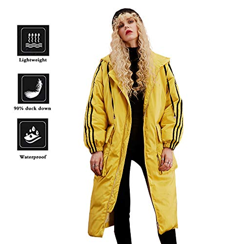 Elf Sack Women's Hooded Down Jacket Winter Coat with Big Pockets Yellow Medium