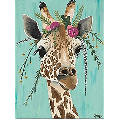 Paint by Number Kits - Flowers Giraffe 16x20 Inch Linen Canvas Paintworks - Digital Oil Painting Canvas Kits for Adults Children Kids Decorations Gifts (No Frame)