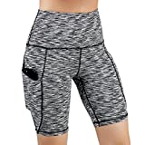 ODODOS High Waist Out Pocket Yoga Short Tummy Control Workout Running Athletic Non See-Through Yoga Shorts,SpaceDyeBlack,Large