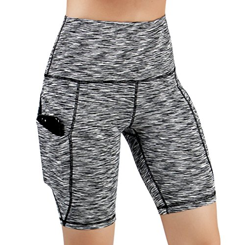 ODODOS High Waist Out Pocket Yoga Short Tummy Control Workout Running Athletic Non See-Through Yoga Shorts,SpaceDyeBlack,X-Large