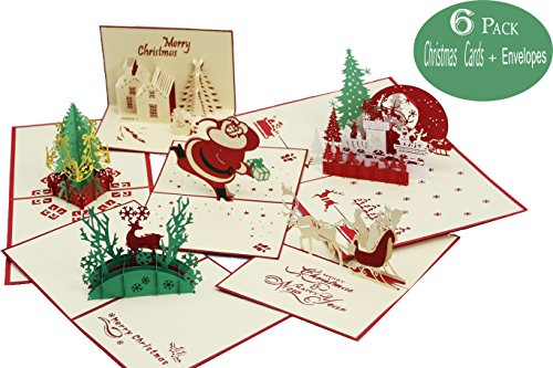 3D Christmas Cards Pop Up Greeting Holiday Cards Gifts Handmade 6 Pack Cards & Envelopes