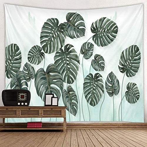BROSHAN Small Leaf Tapestry Green, Tropical Plant Monstera Leaves Wall Art Tapestry Fabric Wall Hanging Blanket Curtain for Bedroom Living Room College Dorm