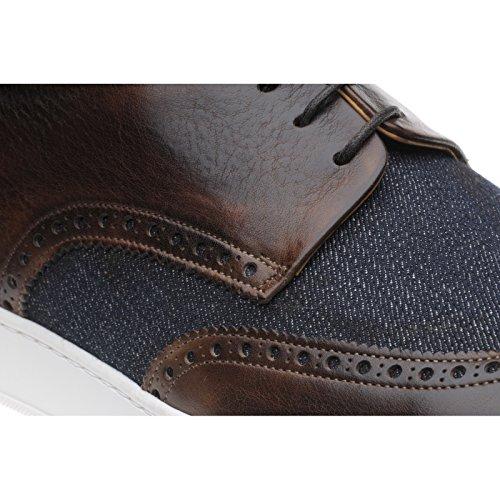 Herring Herring Denton - Zapatos de cordones para hombre marrón Brown Calf and Denim
