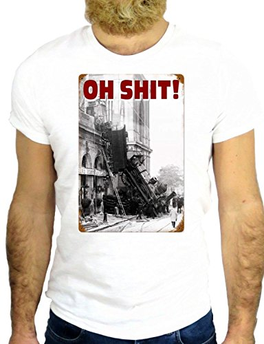 T SHIRT JODE Z1280 OH SHIT TRAIN DISASTER FUN NICE VINTAGE USA AMERICA NEW YORK GGG24 BIANCA - WHITE S