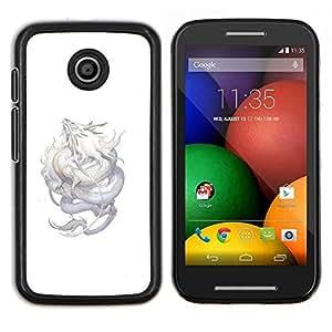 TECHCASE---Cubierta de la caja de protección para la piel dura ** Motorola Moto E ( 1st Generation ) ** --Dragón de Plata Flying criatura mítica de la Naturaleza