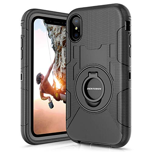 iPhone Xs Max Case, BENTOBEN Kickstand Belt Clip Holster Ring Case,Shockproof Hybrid Hard PC Soft Silicone Full Body Rugged Protective Cover Case for iPhone Xs Max/6.5-inch,Black