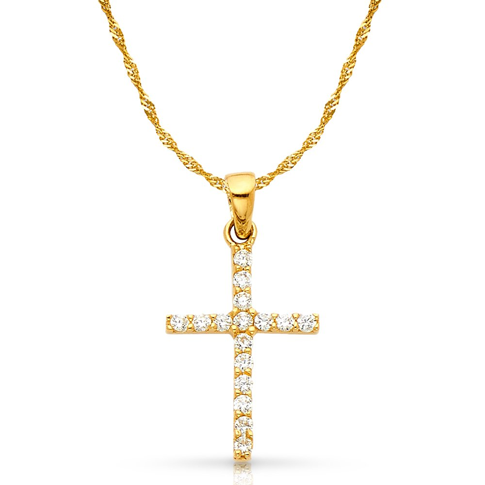 14K White Gold Fancy Cross Round Cut Cubic Zirconia CZ Charm Pendant with 1.2mm Singapore Chain Necklace