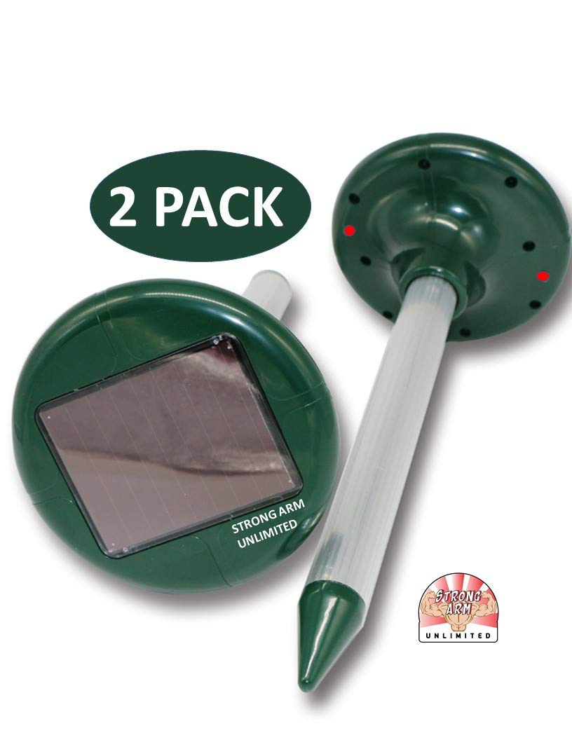 STRONG ARM UNLIMITED 2 Pack Solar Powered Sonic Lawn Yard Garden mole Gopher Vole Rat Mouse Rabbit Chipmunk Ground Squirrel Rodent Control Chaser Spike Repeller No Power Needed Results Guaranteed