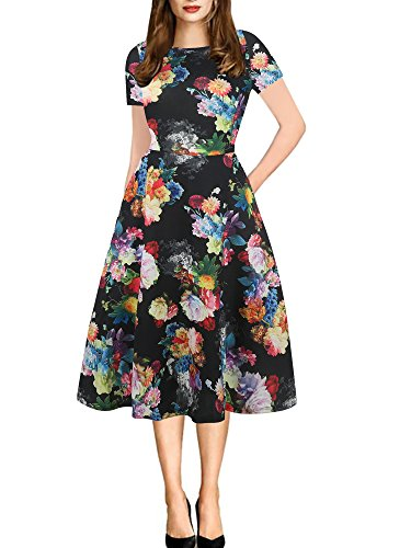 - oxiuly Women's Round Neck Floral Casual Pocket Tunic Party Cocktail T-Shirt A-Line Dress OX262 (XXL, Black Rose)