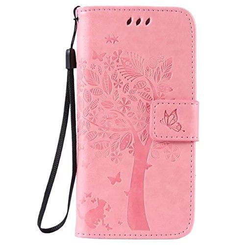 Solid Color Premium PU-Leder-Etui Prägung Muster Flip-Standplatz Fall Deckung mit Karte und Bargeld Schlitze für iPhone 6 6s 4,7 Zoll ( Color : Pink )
