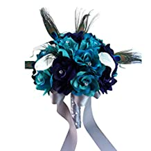 "9"" Bouquet-lighter Teal,eggplant Purple Open Roses,calla Lily,peacock Feather..."
