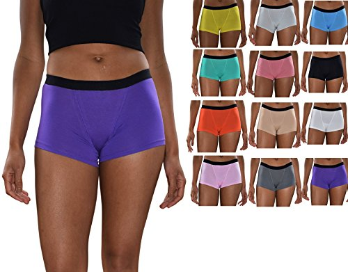 Sexy Basics Women's 6 & 12 Pack Modern Active Boy Short Boxer Brief Panties (12 Pack Bonus- Sexy Solids, X-Large) by Sexy Basics