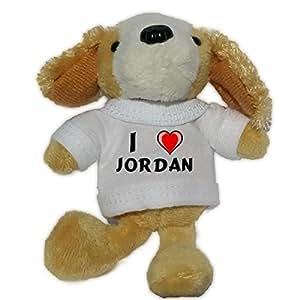 Perro de peluche (llavero) con Amo Jordan en la camiseta