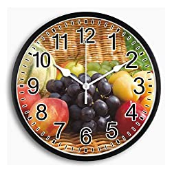 LI-LOVE Decorative Round Wall Clock Large Living Room/Bedroom/Kitchen Non Ticking Silent Quartz Indoor Fruits Battery Operated Arabic Numeral Accurate Plastic Frame with Glass Cover 10 Inch