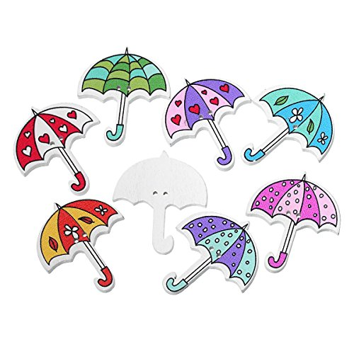 DeemoShop DoreenBeads Wood Sewing Button Scrapbooking Umbrella at Random Two Holes 3.5cm(1 3/8