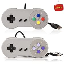 SNES PC USB Controller,NES USB Retro Gamepad,Supper Classic USB PC Remote SFC Game Controller Connector Wired Joypad Gamestick Joysticks for Windows PC MAC Notebook Laptop Slim (Colorful+Purple)