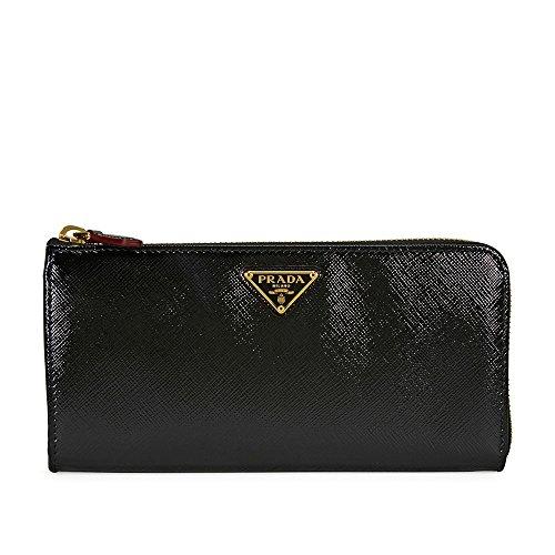 Prada Vernice Saffiano Leather Wallet - Black