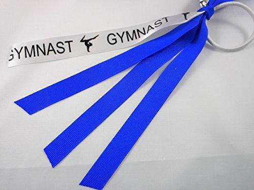 Gymnastics Pony Tail Hair Tie Ribbon Streamers Royal Blue by Missy Moo Designs