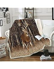 Deer Elk Forest Jungle Maple Leaves Blanket Floral Fleece Blanket for Kids Girl Couch Soft Plush Bedspreads Quilt