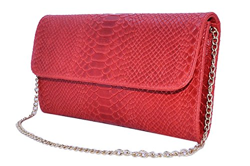 cuir IVONNE 100 Italy Real Rouge Pochette BORDERLINE in Made en vwpw6qY