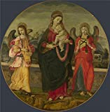 Oil Painting 'Workshop Of Raffaellino Del Garbo The Virgin And Child With Two Angels', 8 x 8 inch / 20 x 21 cm , on High Definition HD canvas prints, Dining Room, Game Room And Powder Room Decoration