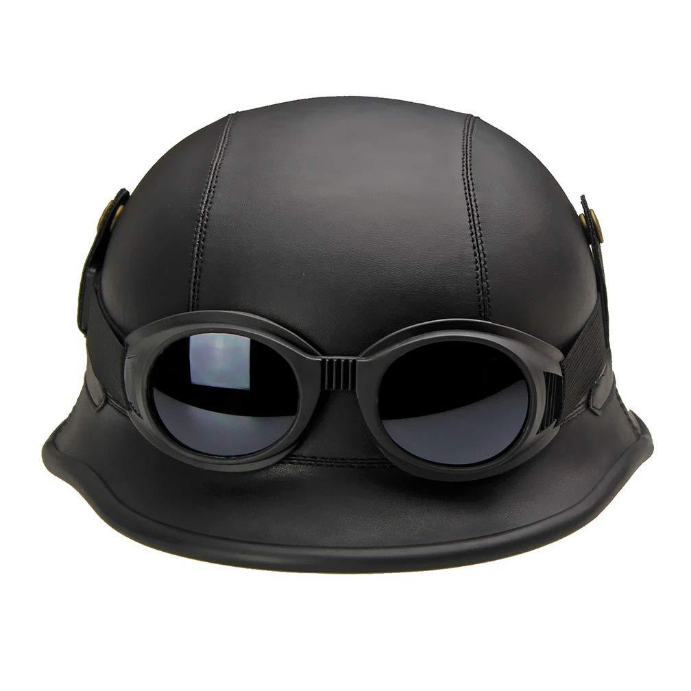LUHUIYUAN Schutzhelm Deutsche Schutzbrille im Retro-Stil aus Leder,schwarz