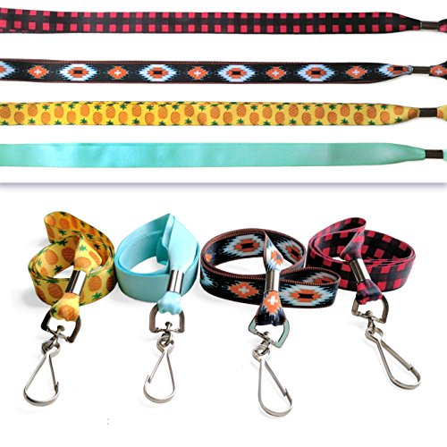 Set of 4 Ultra Soft ID Lanyards - Bestseller Combo - Pineapple, Tribal, Plaid, & Mint