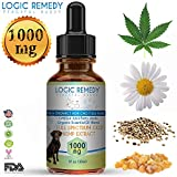 LOGIC REMEDY (1000mg) Organic Hemp Extract & Essential Oil Blend & Omega-3,6,9 Fatty Acids for Dogs & Cats/ Vegan/Peaceful Buddy Fights Stress, Separation Anxiety & Improves Hip Joint Health