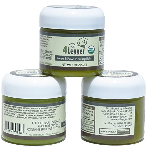 4-Legger Certified Organic Nose & Paw Pad Healing Balm for Dry Chapped Cracked Skin with Hemp Oil & Shea Butter -...