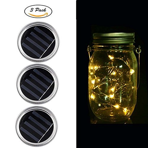 Cheap Solar Mason Jar Lids, Fredhome 3 Pack 10 LED String Fairy Lantern Lights Lid Insert for Outdoor Indoor Garden Path Yard Walkway Decoration (Jar Not Included, Warm White)