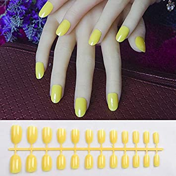 Amazon Com 24pcs Acrylic Nails Candy Multi Color Round Oval