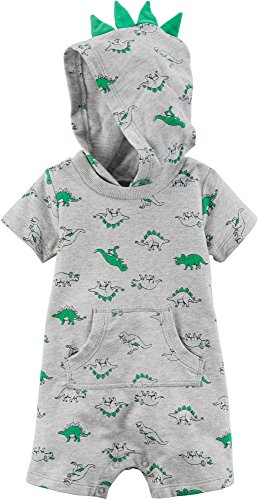 Carter's Baby Boys Short Sleeve Dino Print Hooded Romper, 24 Months, (Dragon Baby Clothes)