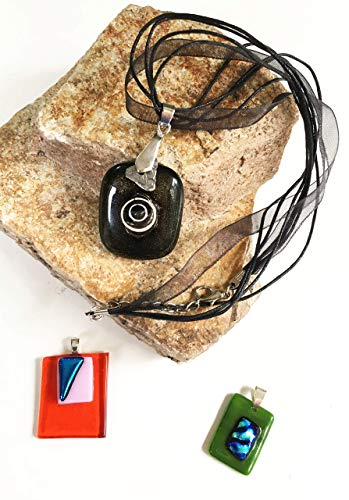 Pendant Necklace Set of 3 for Woman and Men Handmade Designer Black, Red, Green with Dichroic Fused Glass Accents Great for Birthday Gift, Wedding Gift, Anniversary Gift or a Special Occasion