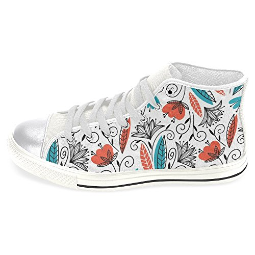 Rentprint Dames Canvas Schoenen Hoge Sneakers Sneakers Lace Up Sneakers Fashion Vorm Jungle Wit