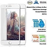 MiniKIKI iPhone 6/6s Plus Glass Full Screen Protector, 2 Pack Screen Protector for iPhone 6/6s Plus, Glass Body with 3D White Soft Carbon Fibre Frame Cover Edge-to-Edge, HD Hard, Great Sensitivity